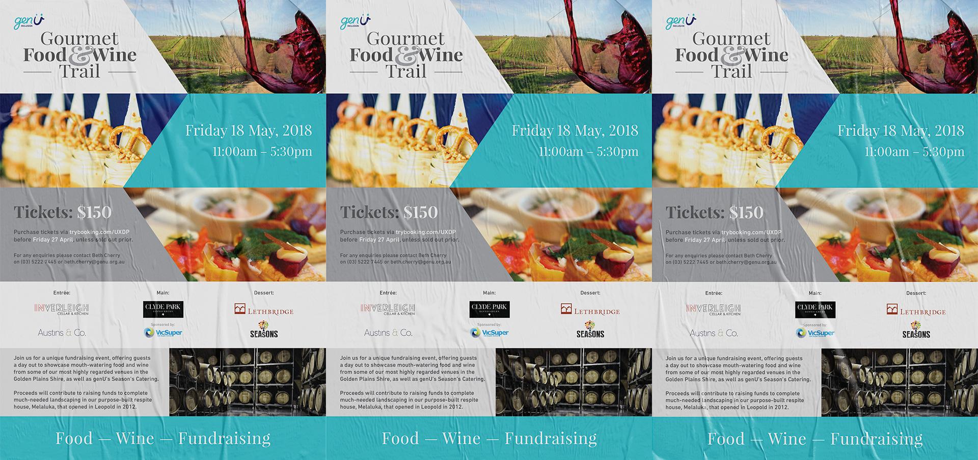 genU Gourmet Food & Wine Trail 2018 fundraiser poster