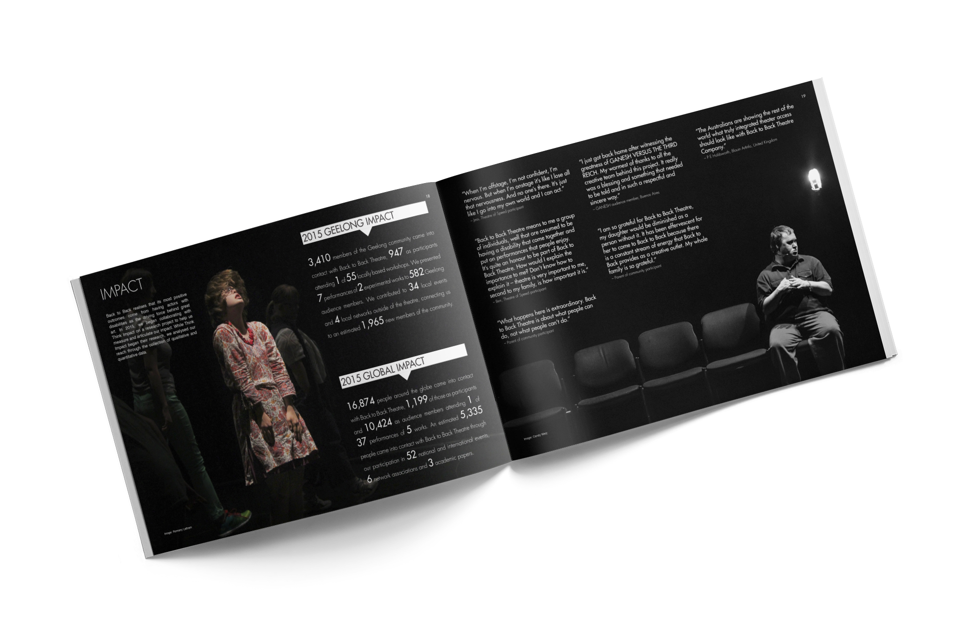 Back to Back Theatre's 2015 Year in Review — Spread featuring information on impact