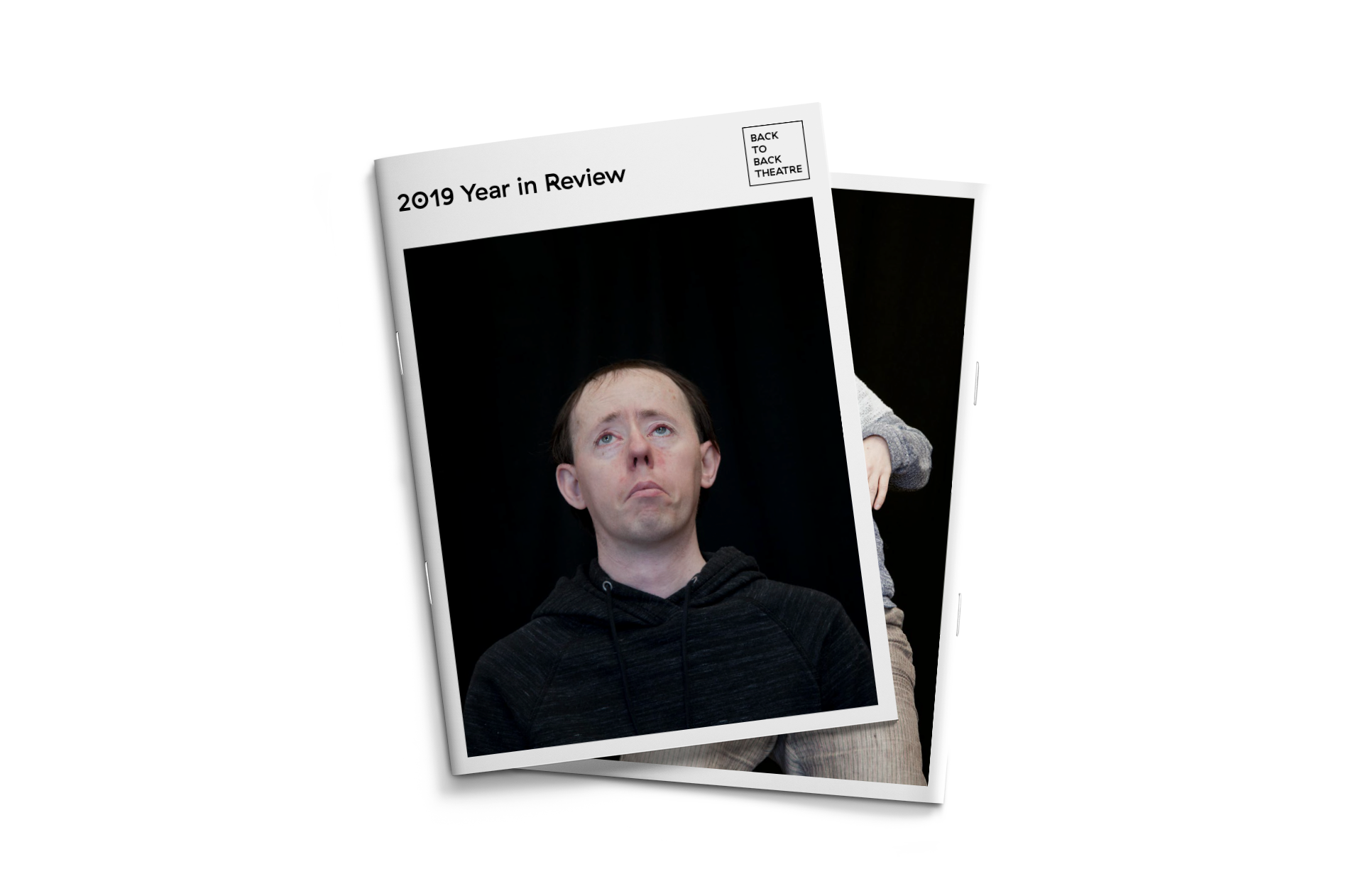 Back to Back Theatre's 2019 Year in Review — Front cover featuring ensemble member Simon Laherty and back cover featuring ensemble member Sarah Mainwaring